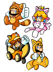 Commission - Powered-Up Mario and Friends by JamesmanTheRegenold