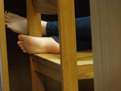 Asian girl feet at library by schizoknight12