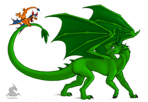 The Green-dragoness and Nefili by VixenDra