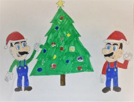 Mario and Luigi's Christmas Tree by SuperSmash6453