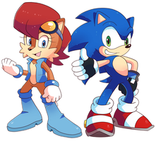 Commission Sonic and Sally Redesigns by Domestic-hedgehog