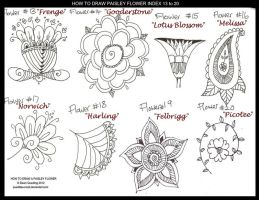 How to Draw Flower Index 13 to 20 by Quaddles-Roost