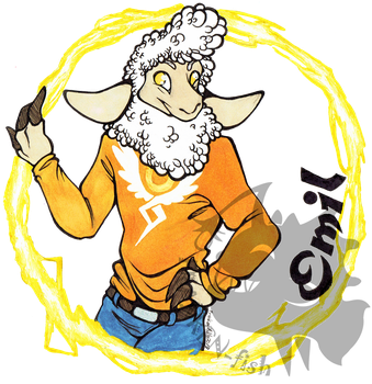 ((Badge commission)) Emil the sheep by Franken-Fish