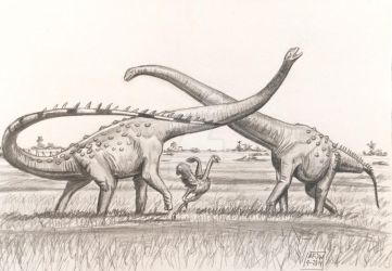 Rio Grande Rivals-Alamosaurus and ornithomimid by Franz-Josef73