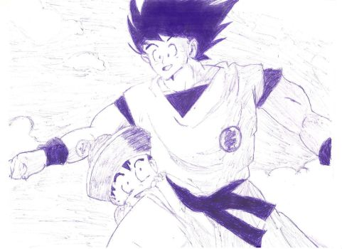 Goku And Gohan In The Sky by MrKurtIrving