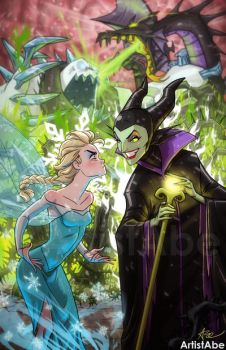 Elsa vs Maleficent by ArtistAbe