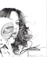 Gillian Anderson With Alien Mask by BluebellArt33