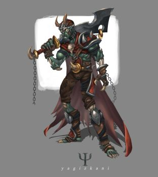 undead warrior with helmet by yagizkani