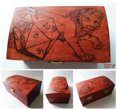 Lion- pyrography on wooden box by FuzzyMaro