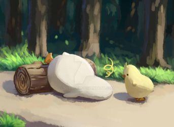 Pato tripped over a log! by scribley
