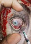 Zombie eye with syringe, horror living dead theme by AltroEvo