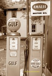 Gulf oil gas pumps sepia by pjs15204