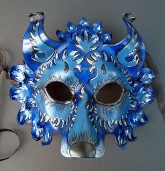 Blue Wolf Leather Mask by merimask
