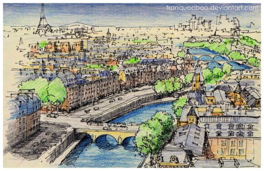Aerial view of Paris by tranquocbao