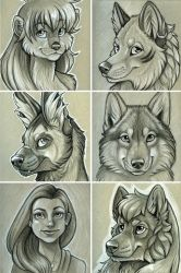 B+W Head Shot Commissions by NatsumeWolf