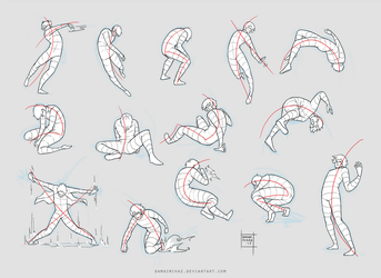 Sketchdump February 2017 [Dynamic poses] by DamaiMikaz