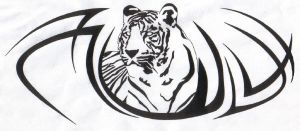 tiger with tribal by mikec1998