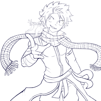 Natsu Lineart -Free to colour!- by shadoouge