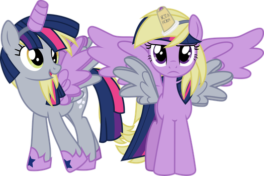 Derplight Hooveskle and Twiderp Sparkhooves by GeometryMathAlgebra