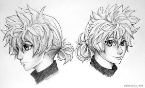 Killua with a ponytail! by RavenDANIELS