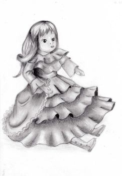 Porceline Doll Drawing Grayscale Shading by AsianBunnyZ7