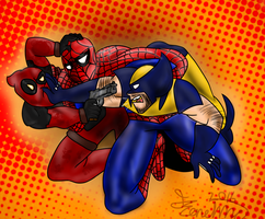 Spidey, Wolvie and Deadpool by Joey-GB-316