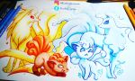 Ice and Fire Foxes by KimikoGlaciem