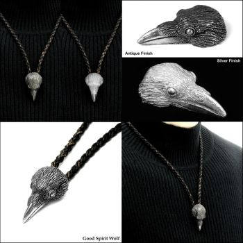 Raven Head Tribal Necklace - Now in 2 Finishes by GoodSpiritWolf