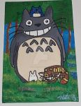 My Neighbor Totoro and Friends - Canvas Painting by wolf-girl87
