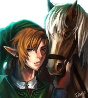 Link and Epona by Esgalor