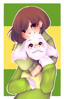 Chara and asriel by kimlovekingdomhearts