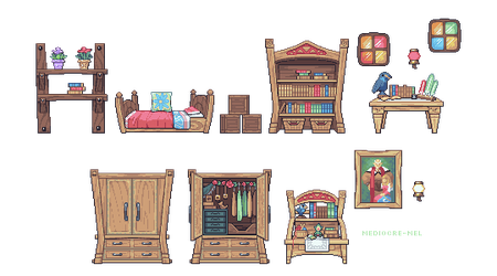 sidescroll furniture practice - Zelda's Room by Mediocre-Mel