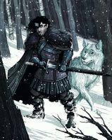 Jon Snow and Ghost by IngvardtheTerrible