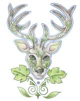 The Green Stag by Spiralpathdesigns