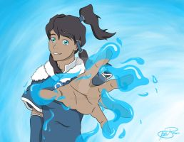 Korra Water Bending with a background by KatieBrownie