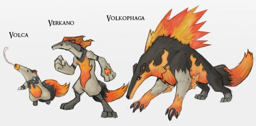 Fakemon Fire Starters by Either-Art