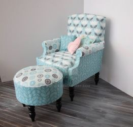 Latest commission 1/3 scale chair with ottoman by meitina