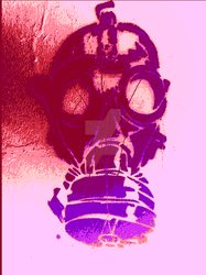 Pink graffiti gasmask by SauronTheMagnificant