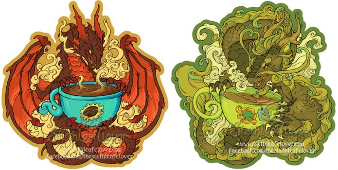 Coffee and Tea Dragon Stickers by The-SixthLeafClover