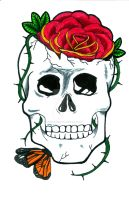 Skull 'n Roses Marker Illustration by ChelseaFerranti
