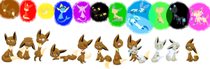 .:Eevee's:. with their reference~ by LunaEclipsa
