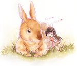 Rabbit and gilr by loli-drop