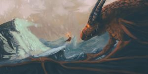 Warrior and dragon by Hilaz