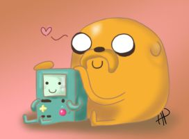 Bmo and Jake by ANTONIOMASTERPERES