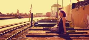 Waiting for a train by laracoa
