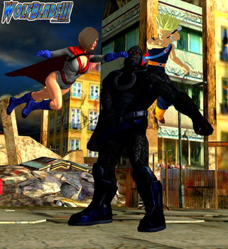 Power Girl and Trunks vs Darkseid. by WOLFBLADE111