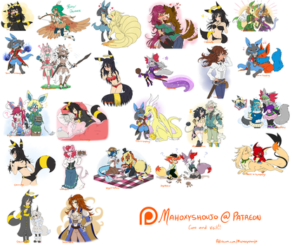 Monthly Patreon Rewards Pics -Art Dump!- by FENNEKlNS