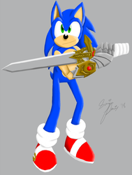 Sonic with Caliburn (COLOR) by SonicRemix