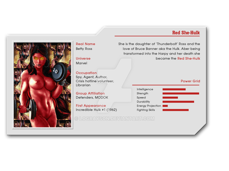 Hot Heroines File 31 - Red She-Hulk by LograySon