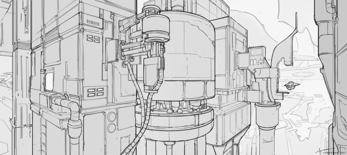 Scifi city Lineart by Long-Pham